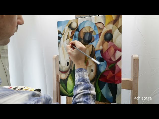 """""""Mirror Into The Psyche"""" cubism painting in making (oil on canvas, cubism, symbolism, surrealism)"""