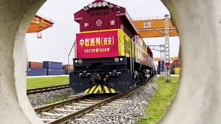 GLOBALink   1,000th China-Europe freight train from Xi'an departs
