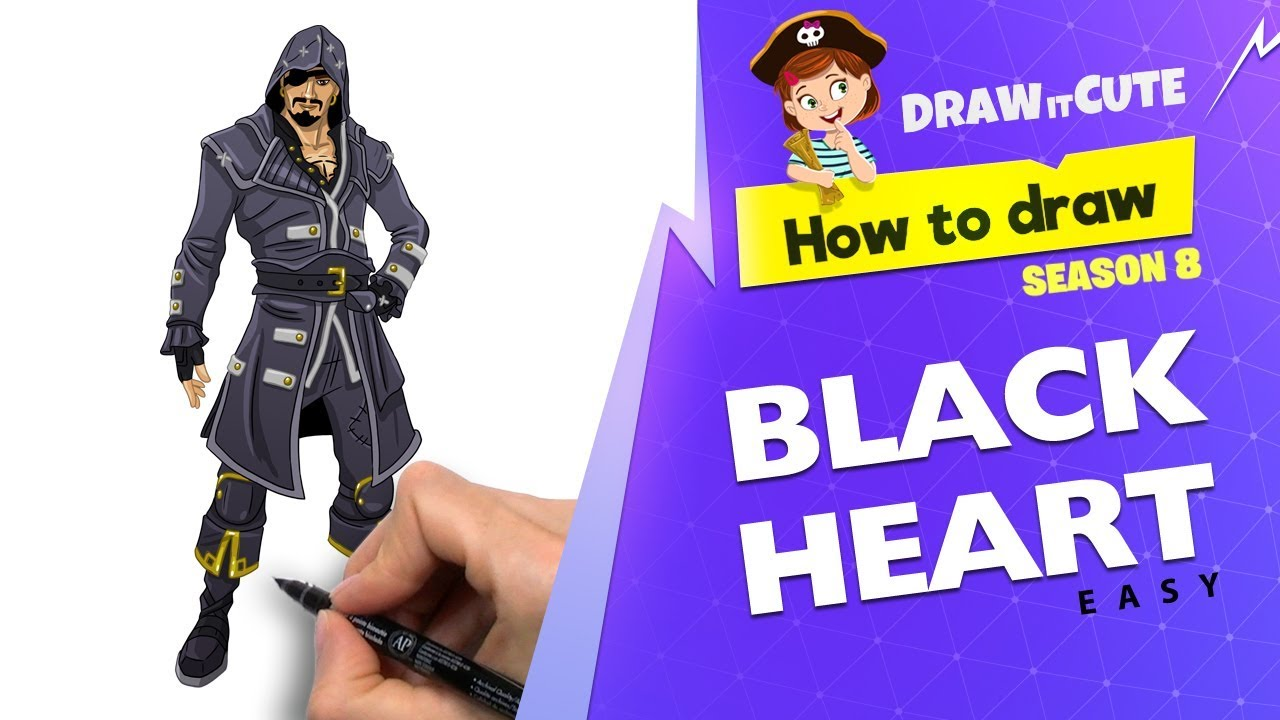 How to draw Blackheart easy | Fortnite Season 8 tutorial ...