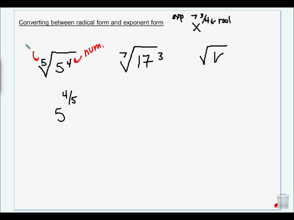 Converting Between radical form and exponent form.wmv - YouTube