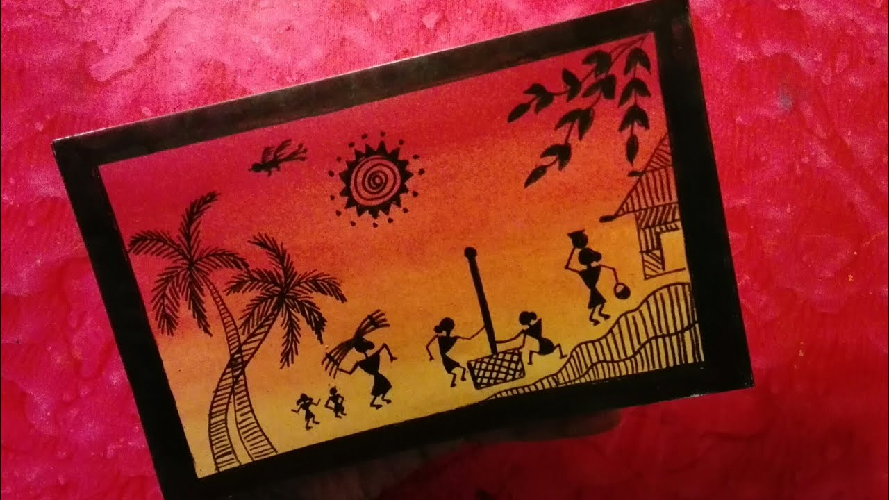 How to draw warli art very easy without paints - YouTube