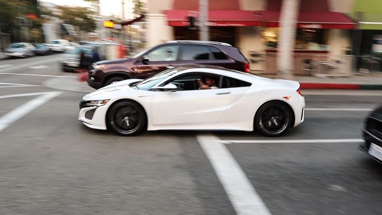 Michael B Jordan driving his Acura NSX in Beverly Hills ...
