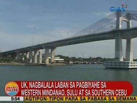 UB: UK, nagbabala sa pagbiyahe sa Western Mindanao, Sulu at sa Southern Cebu