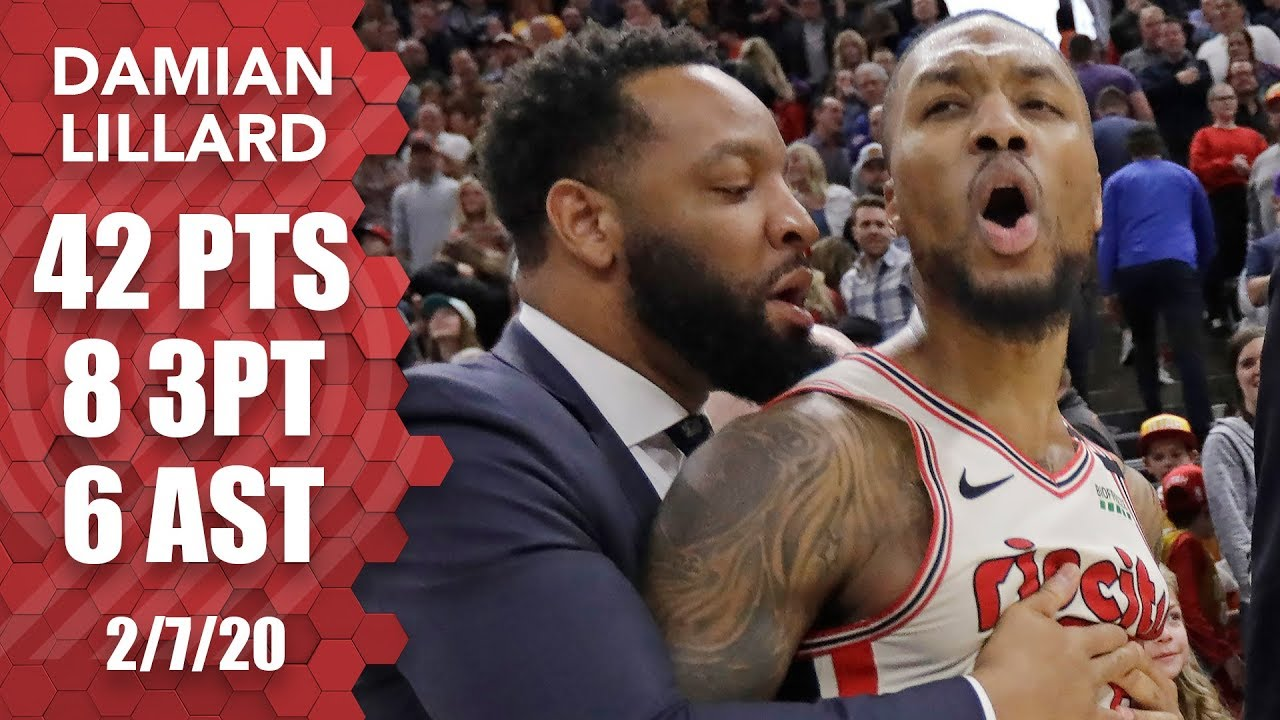 Damian Lillard irate goaltending not called late in 42-point game vs. Jazz | 2019-20 NBA Highlights