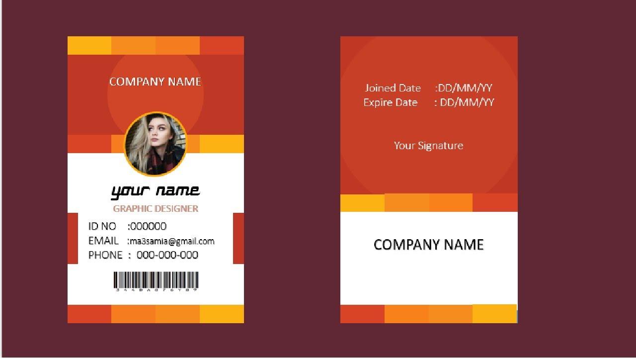 30 تصميم بطاقات عمل ID Card بالبوربوينت