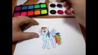 My Little Pony. Как нарисовать пони Рейнбоу Деш?/My Little Pony. How to draw pony Rainbow Dash?(В этом видео я рассказываю и показываю как нарисовать красками пони Радугу Деш из My Little Pony / In this video I tell and..., 2016-01-16T17:38:17.000Z)