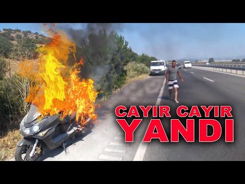 Motosiklet alev topuna döndü   Bir anda yanan motosiklet   TEPKİ
