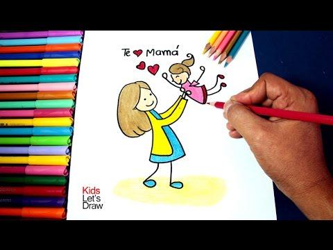Cómo Dibujar Mamá Cargando A Su Hija Día De La Madre How To Make