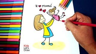 Cómo dibujar Mamá cargando a su Hija (Día de la Madre) | How to make a drawing for Mother