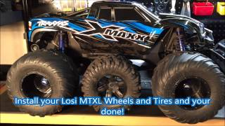 X-Maxx 8s runs on MONSTER 1/5 Losi MTXL Wheel and Tire Mod conversion. How to Video
