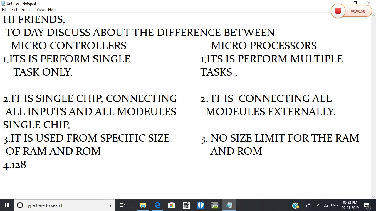 importent points for the difference between micro controllers and micro  processors