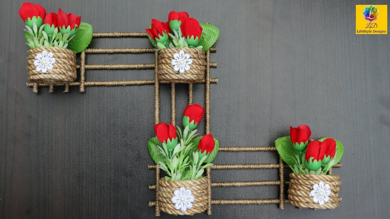 Diy Wall Hanging Flower Vase With Jute Flower Pot Using Jute Rope Wall Decor Jute Craft Idea Youtube