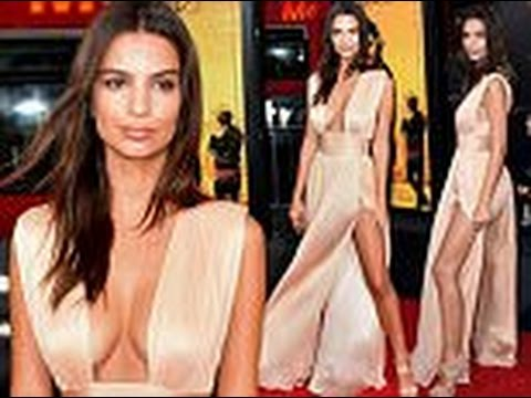 Emily Ratajkowski shows off ample cleavage and lots of leg in plunging pale pink gown thumbnail