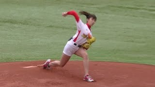 神ピッチング 稲村亜美一打席勝負!千葉ロッテ 2016 ファン感謝デー 始球式の女王 Japanese baseball TV personality cute girl