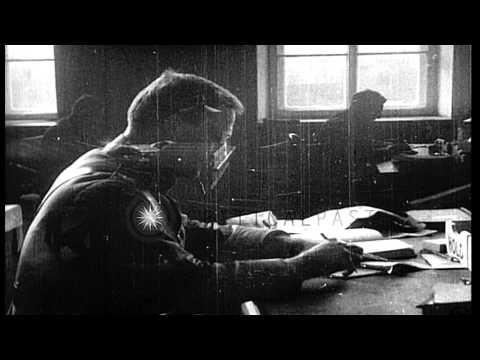 Two Russian officials seated at desks in office, Archangel. HD Stock Footage
