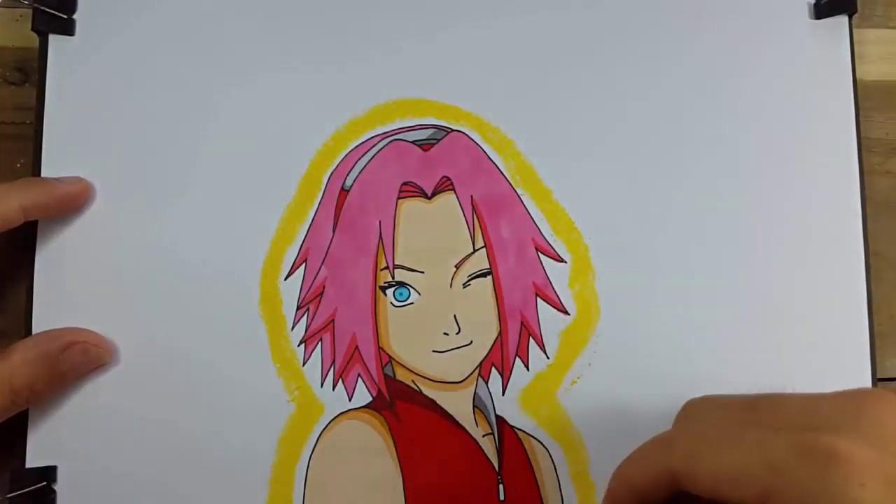 Drawing Naruto, Sakura e Sasuke.(desenhando com o dedo