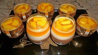 Желе трехслойное: сметанно-шоколадно-фруктовое_Three layers jello dessert