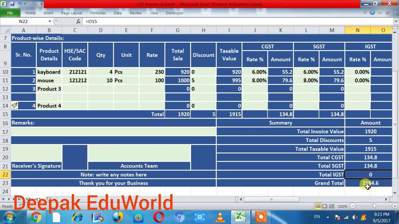 how to make gst bill in excel hindi new gst bill format gst invoice billing system in excel
