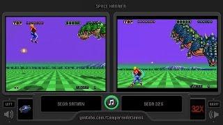 Space Harrier (Sega Saturn vs Sega 32x) Side by Side Comparison