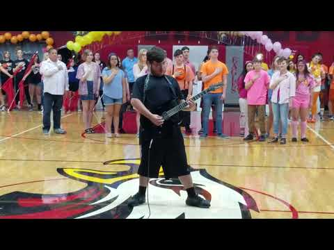 Spring Assembly National Anthem Played On Guitar at Ironwood High School