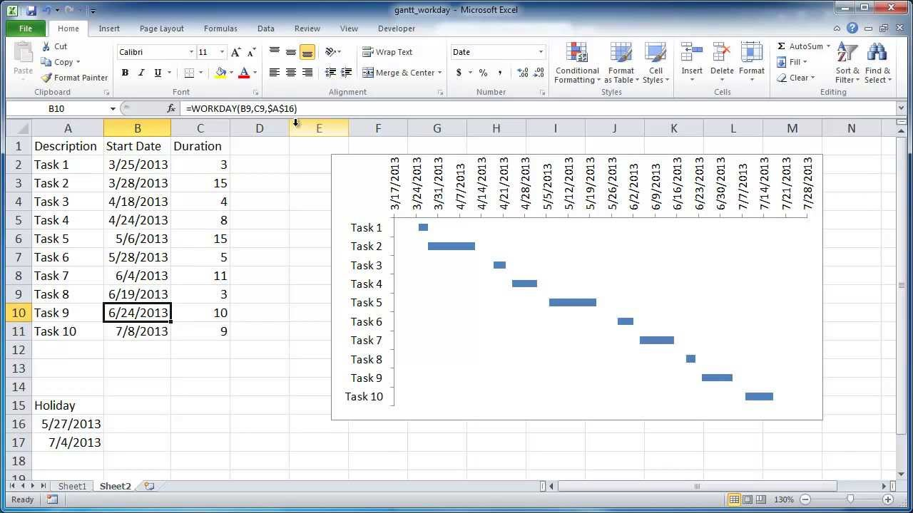 Create a gantt chart with workdays only youtube create a gantt chart with workdays only nvjuhfo Choice Image