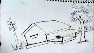How To Draw A Village House For Kids