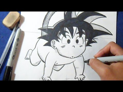 Worksheet. Cmo dibujar a Goku Beb Dragon Ball Z  How to draw Goku Baby