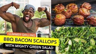 Summer Grilling Recipes: BBQ Scallops with Green Salad / Vieiras con Tocino y Ensalada Verde