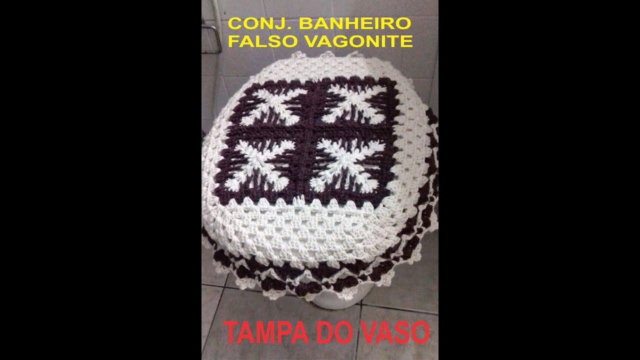 CONJ.DE BANHEIRO EM CROCHÊ FALSO VAGONITE TAMPA DO VASO PARTE 01  #BDB70E 2080 3160