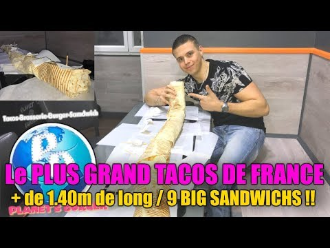 Le PLUS GRAND TACOS de FRANCE (1.40m de long) composé de 9 BIG SANDWICHS ! Je finis en BÉQUILLES !