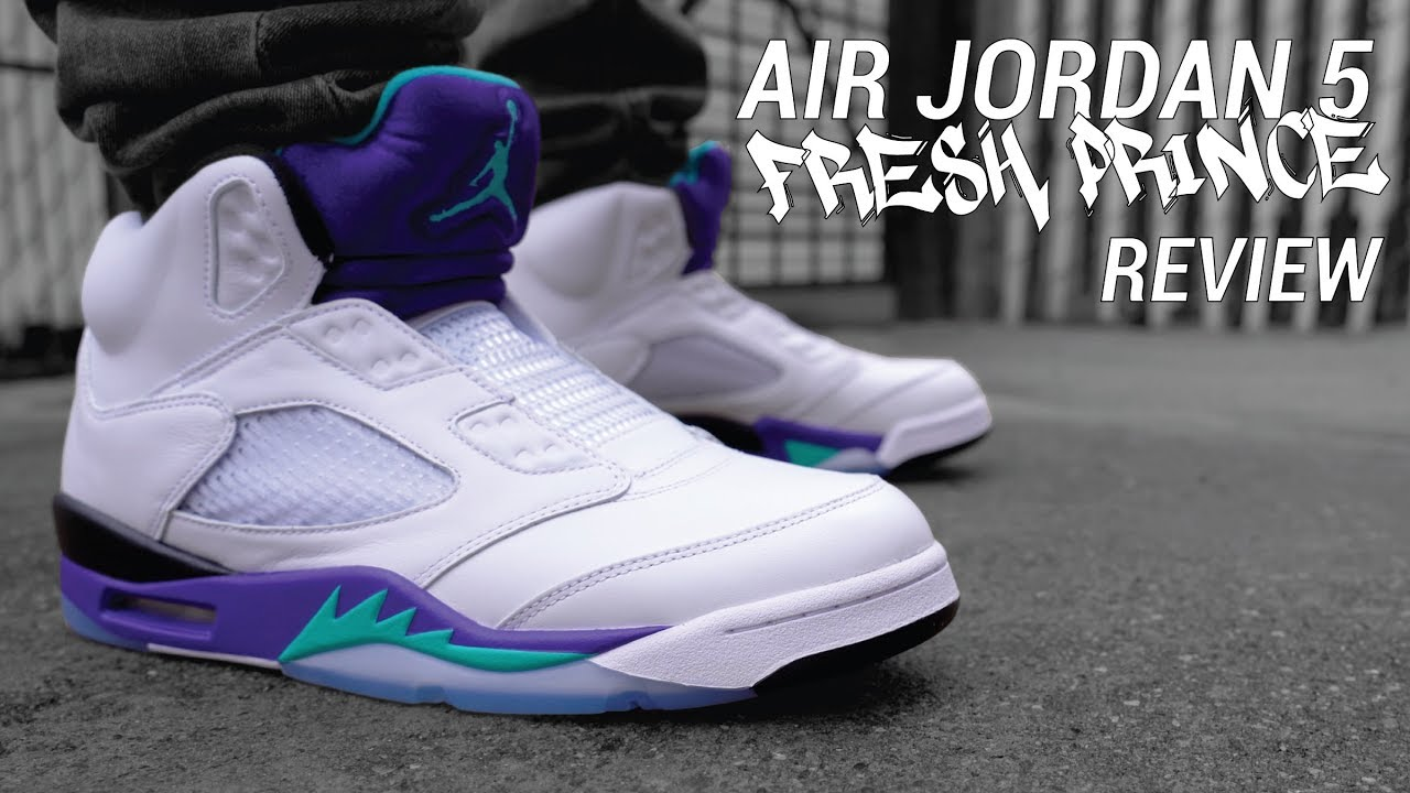 0667130427ab Fresh Prince of Bel Air Nike Air Jordan 5 Review   On Feet - YouTube