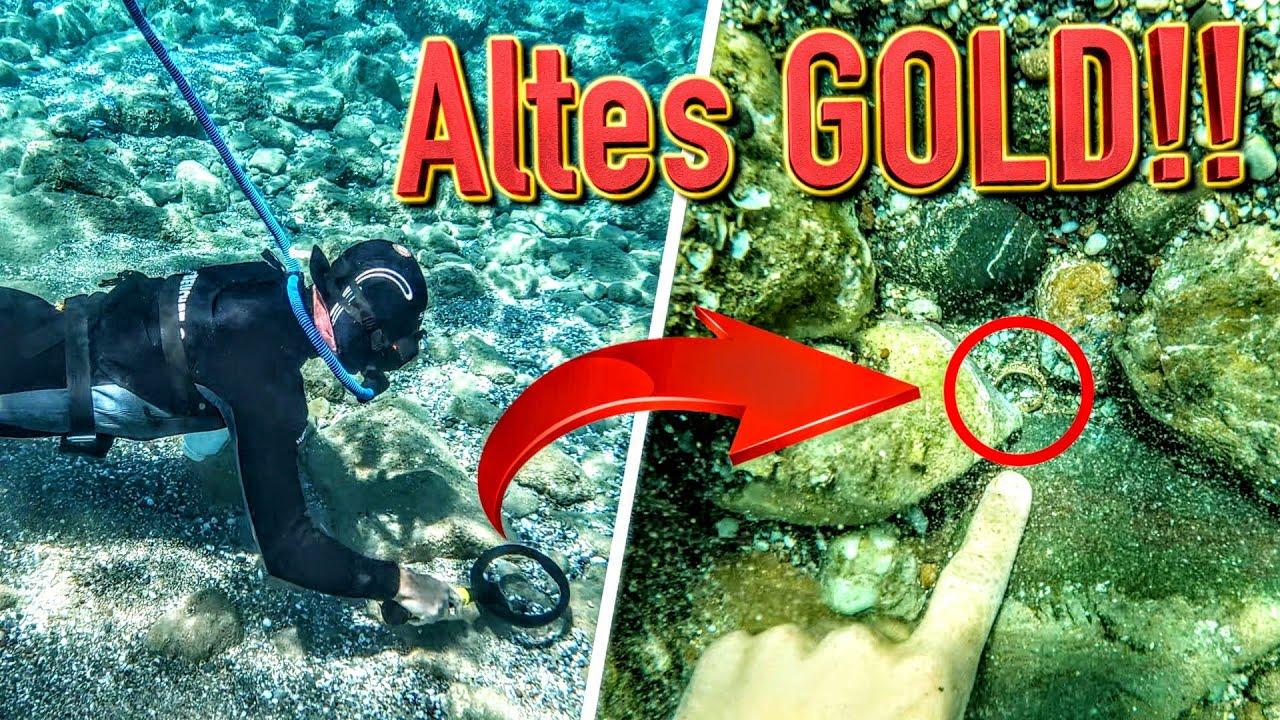 Wertvoller GOLD Fund beim Tauchen mit Metalldetektor (Schatzsuche & Sondeln Unterwasser auf Kreta)