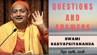 Questions and Answers with Swami Sarvapriyananda - Apr 29, 2018