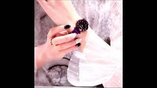 Роскошные розовые золотые женские часы минимализм звездное небо магнитная пряжка модные повседневные