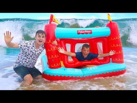BOX FORT VS OCEAN CHALLENGE!! (HUGE WAVES)
