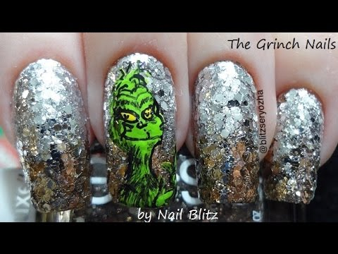 How The Grinch Stole Christmas Diy Nail Art Tutorial Youtube