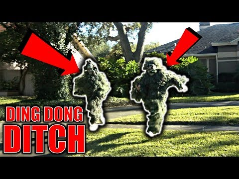 GHILLIE SUIT DING DONG DITCH PRANK **GONE WRONG ** (BTS)