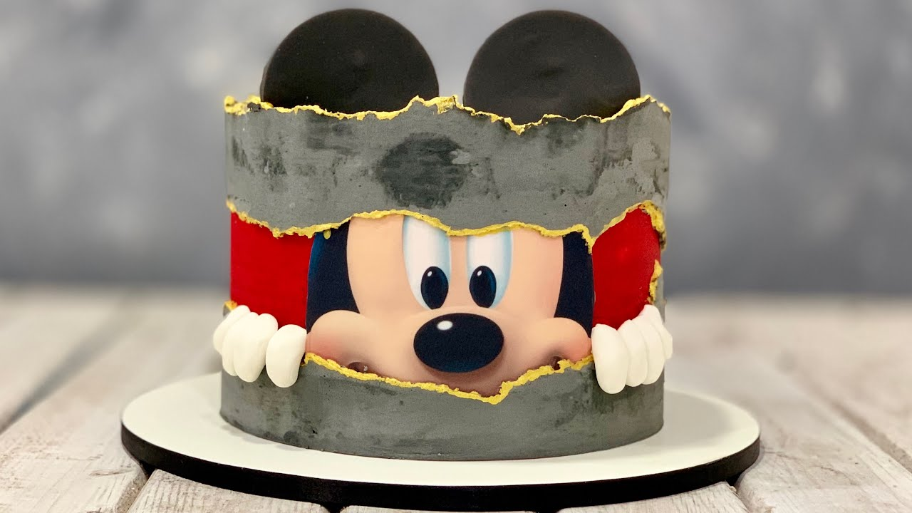 Mickey Mouse Cake Fault Line Cake Concrete Cake Youtube