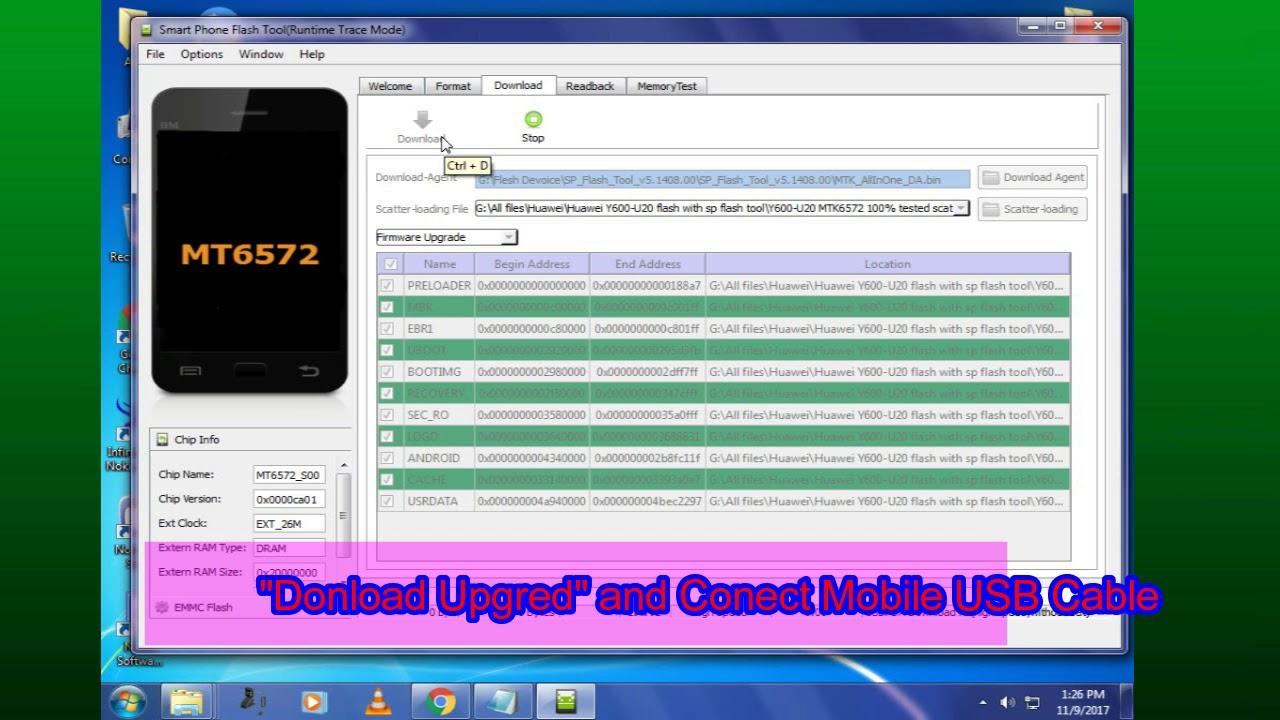 Huawei Ascend Y600-U20 Flash 100% Free With (SP Flash Tool)