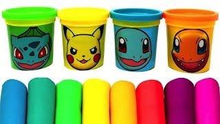 Pokémon(ポケットモンスター) Play Doh Molds & Can Heads Toys Pikachu Bulbasaur Charmander Squirtle Eevee
