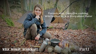 Forrest overnighter, Wild herbalism and a camfire story! Vanessa Blank - Wild Woman Bushcraft 4K