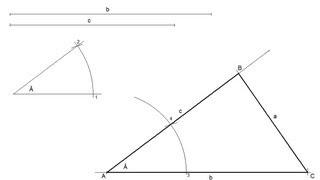Triángulo escaleno dado un ángulo y sus dos lados contiguos