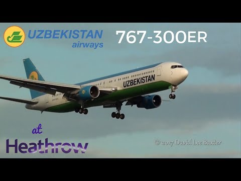 Uzbekistan Airways Boeing 767-300ER {UK67003} Landing at London Heathrow