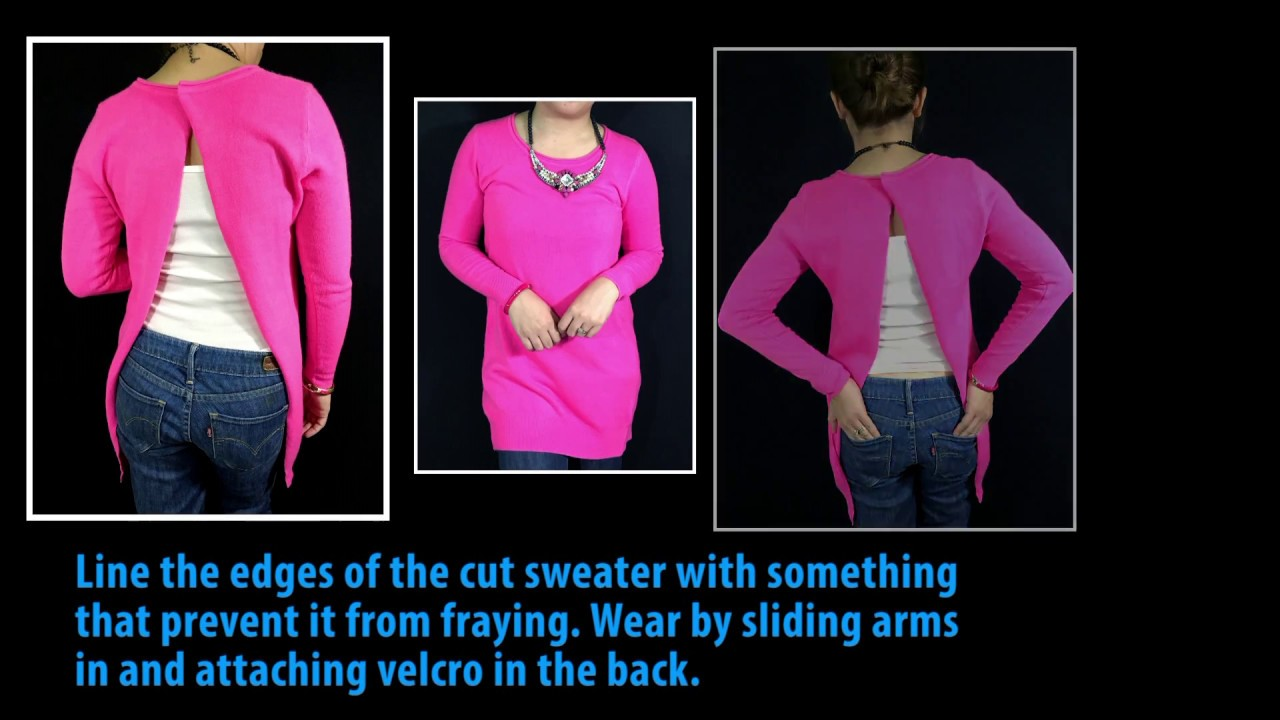 diy very easy no sew open back sweater youtube