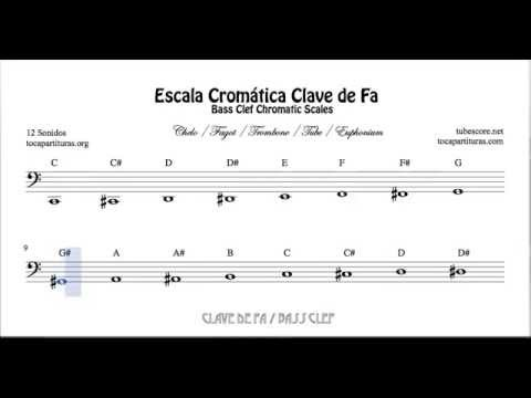 Chromatic Scale in Bass Clef - All Notes Sheet Music Beginners Cello Bassoon Trombone Tube Euphonium