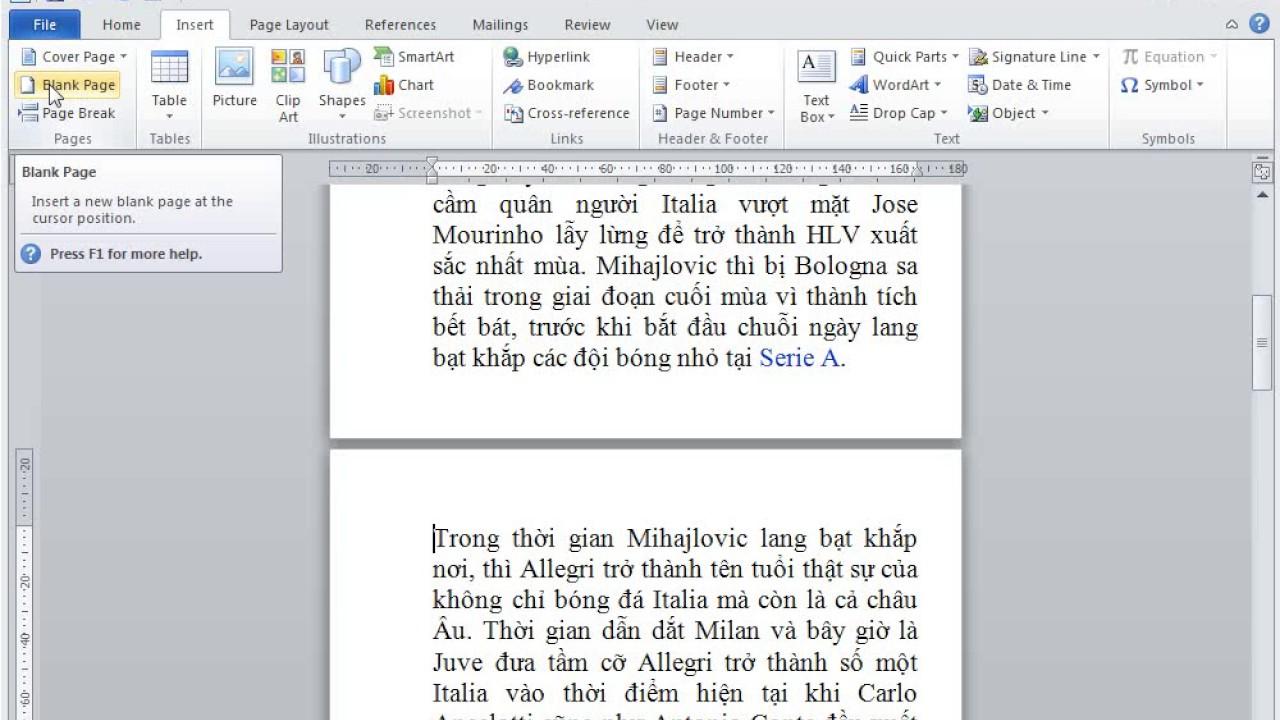 Chèn một trang trống trong Word 2010