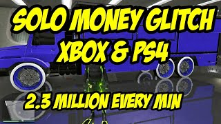 GTA 5  EASY SOLO MONEY GLITCH WORKING NOW XBOX AND PS4 2.4 MILLION EACH TIME YOU DO THIS!!!