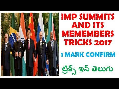 2017 Important Summits In India & Its Members Tricks In Telugu