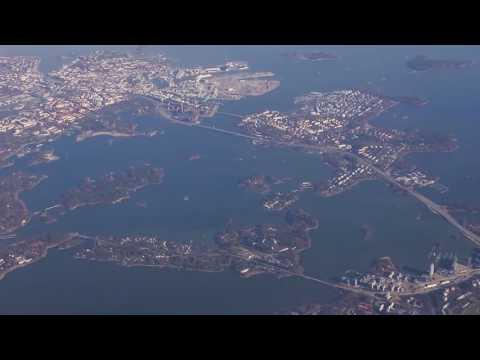 Aerial view of Espoo and Helsinki on a Finnair flight.