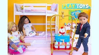 Baby Doll Bunk Bed Pink Bedroom House Toys! Play Dress up Wardrobe Packing in Grand Hotel suitcases